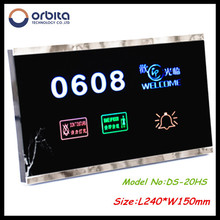 luxury design hotel DND switch with room number display(ROOM,DND,CLEAN DOORBELL)