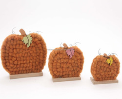 Indoor festival craft pumpkin with wool wooden decorations
