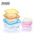 Hot sale glass salad bowl with lid glass fruit bowl set 5pcs Square Glass Bowl Set