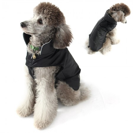 Pet dog clothing spring and autumn and winter clothes waterproof jacket coat vest black
