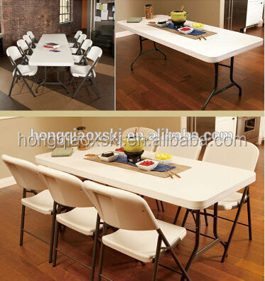 6ft folding trestle table/garden table specific use and plastic, HDPE & steel tube material party rental folding table and chair