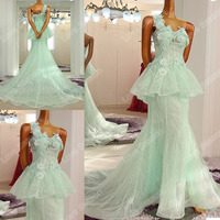 RP50034 real alibaba two pieces light green evening gown dress mermaid girls party evening dress one shoulder mermaid prom dress