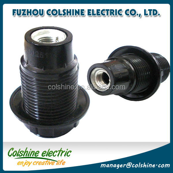 E14 250V bakelite black pendant lampholder with a ring/ Russia lamp socket and screw shell from China supplier Colshine
