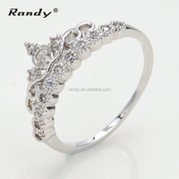 Queen Crown CZ Stone Silver Ring,King And Queen Engagement Ring Jewelry