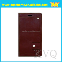 Wine red case with professional design stand function and magnet ear and card slots for Samsung Galaxy S6