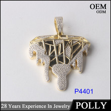 Fashion iced out cz broken diamond design hip hop jewelry gold and rhodium plating