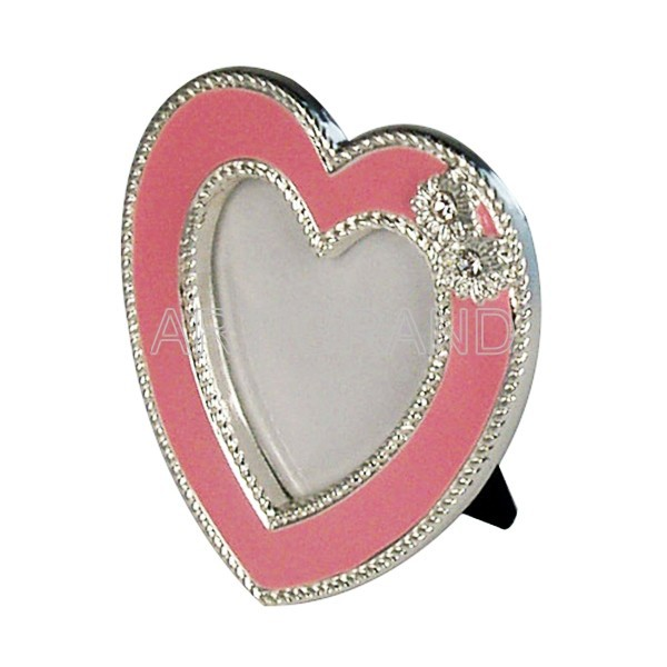 Red enamel heart shaped picture photo frame