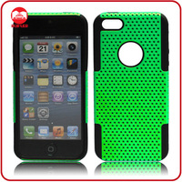 Green Black 2 in 1 Hard Plastic Soft Silicone Hybrid Protective Combo Mesh Case for Iphone 5