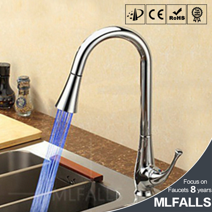 LED Pull-Out Kitchen Faucet,Brass Pull Down Kitchen Faucet With Color Changing LED Light - Spring