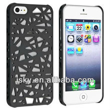 Snap-on Case Compatible with Apple iPhone 5, Black Bird Nest Rear