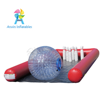 Best price wholesale giant inflatable human bowling ball game set with bowling lanes
