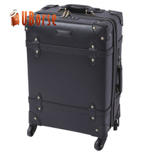 UBORSE PU travel Leather storage vintage luggage suitcase