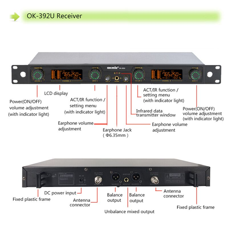 uhf digital ID true diversity dual channels wireless karaoke chinese songs audio interface and recording