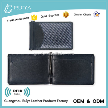 High quality carbon fiber leather wallet rfid blocking real carbon fiber money clip
