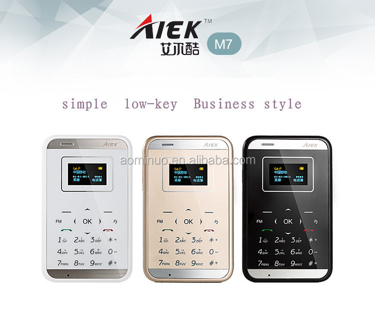Wholesale 2014 new! orginal Aiek M7 mobile Mini Touch Ultra-thin Pocket Card Cool Mobile Cell Phone MP3 FM Bluetooth for kids