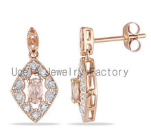 10K Rose Gold Oval Pink Morganite and Diamond Accent Square Drop Earrings high end fashion gold jewelry supplies