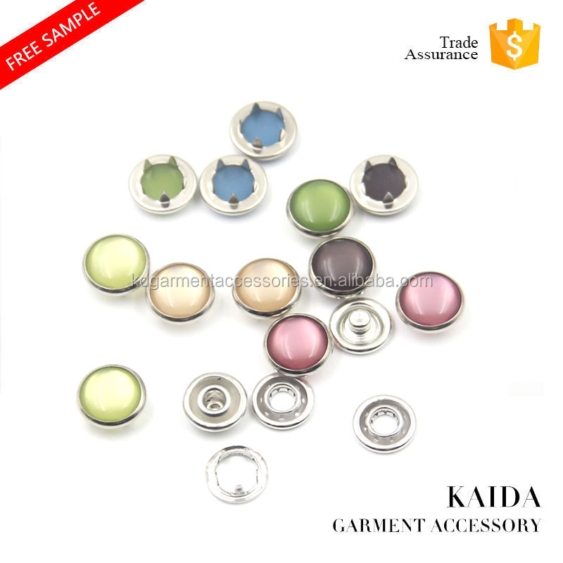 KAIDA Custom decorative four parts brass metal ring cap pearl prong snap button for baby garments