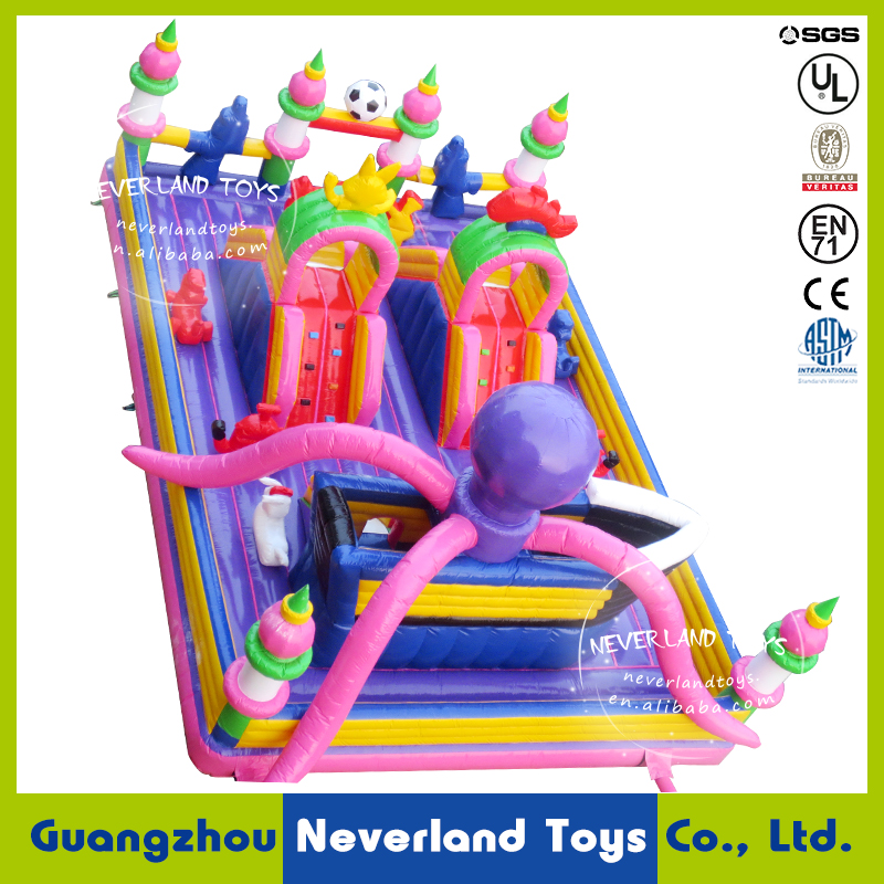 NEVERLAND TOYS large Inflatable Kids Amusement Park Lovely Ocpotus Inflatable Fun City Inflatbale Bouncer for Sale