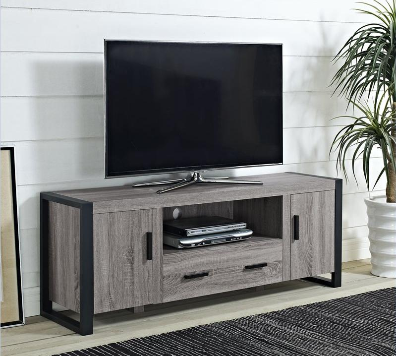 60 inch Wooden Reclaimed Grey Two Doors Modern TV Cabinet