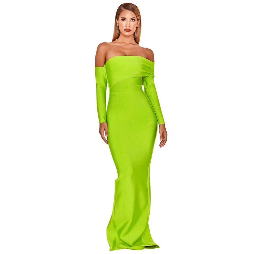 Winter Neon Green Sexy backless Long women Bandage dress Open Fork Party Evening Dresses Maxi bandage dresses 2018 sexy