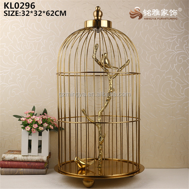 Garden outdoor indoor decoration wall decor pieces metal bird cage statue for sale