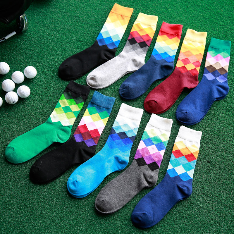 Bonypony 10colors Men's socks British Style calcetines Gradient color brand elite long cotton socks for happy men wholesale sock