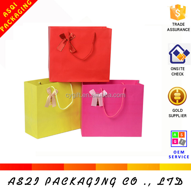 china die cut small Popular Everyday Gift Paper Bag with ribbon bow