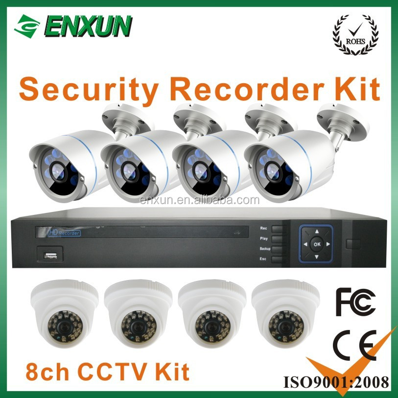 Enxun 2016 Best Selling Very Cheap Good Quality H.264 8CH AHD CCTV DVR Home Security Camera KITS