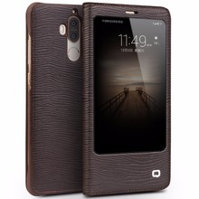 QIALINO Case for Huawei Ascend Mate 9 Luxury Genuine Leather Flip Cover for Huawei Mate9 Sleep Wake Up Function Smart WindowCase