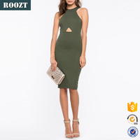 2016 new item wholesale model plain knit slim fit halter knee length bodycon sexy free prom dress