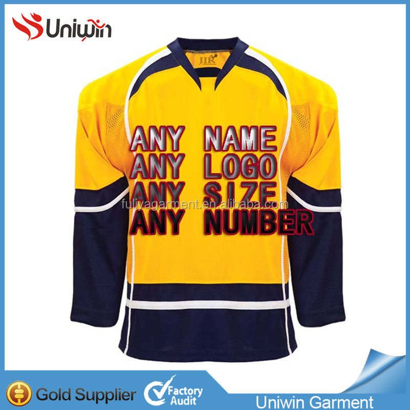 100% Polyester Embroidery Pittsburgh Penguin Ice Hockey Jersey