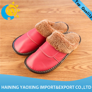 High quality cow hide fashion lady indoor slippers odm supplier