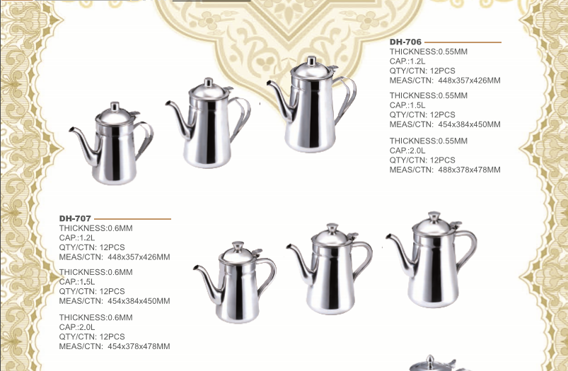 Golden Ware 0.35L 0.6L 0.8L 1L 1.2L 1.4L 1.6L 2L 2.4L 201# stainless steel arabic dallah tea pots