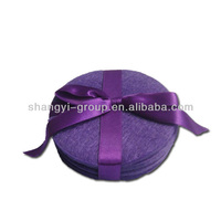 (TA-53)Simple Round Felt Coaster Set With Ribbon/Christmas Felt Coaster