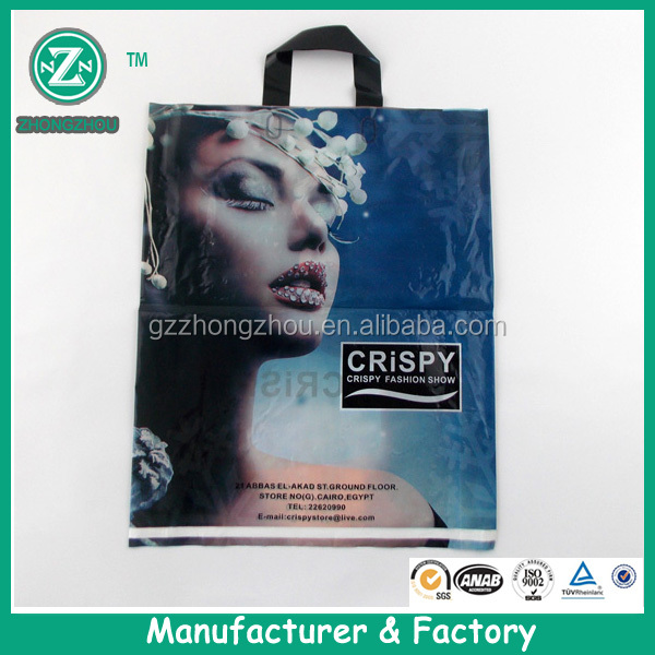 High quality custom printing plastic soft loop handle tote pouch