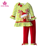 Wholesale Baby Christmas Chevron with Santa Deer Outfit Girls Ruffle Clothing Set