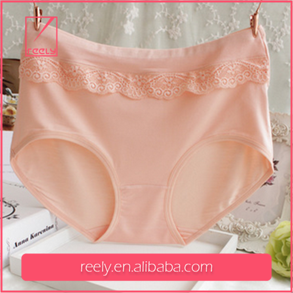 OEM 100%modal pure color lace seamless breathable ladies used panties made in china