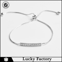 Simple Silver-Plated Metal Adjusatble Pull String CZ Bracelet for Women