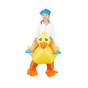 DJ-PT-023 children use fancy dress the man wearing blue hat ride a small yellow inflatable duck costume