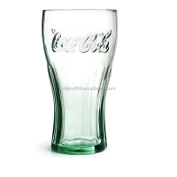 Recycle colored coke glass cups made in China Wholesale price glass cups colored juice cup glass