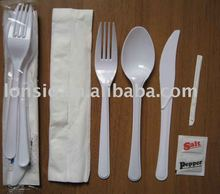 Set of 5 pcs, Heavy Duty Plastic Cutlery Sets forks knives spoons napkin