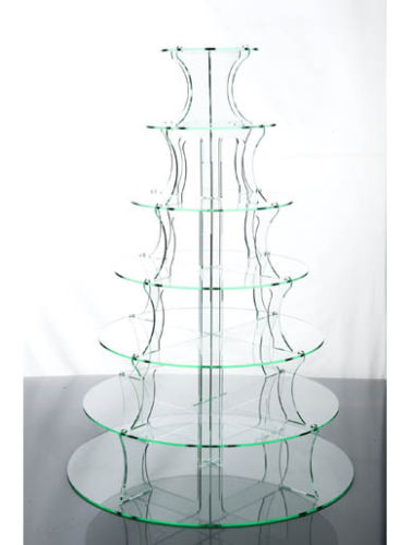 Round Cake Stand 7 Tier Glass Effect Acrylic Cupcake Display