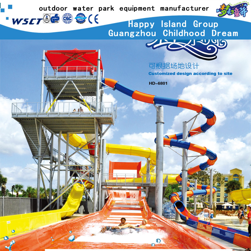 Water park design build huge water park prject price outdoor fiber glass slide