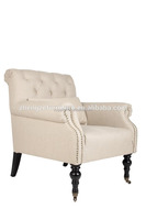 France Classical style solid wood single 1 seater sofa,fabric pulley wheel sofa
