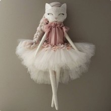 Bunny tulle Ballerina rag doll , cat and bunny wearing a tutu , soft minky fabric cloth rag doll with tulle
