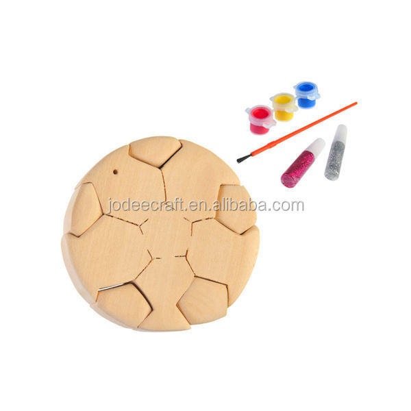 3D wooden craft puzzle football