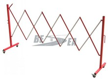 Red and White Metal Crowd Control Retractable Temporary Barrier