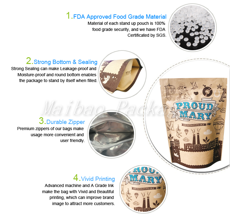 Custom Printed Ziplock Kraft Paper Stand up Pouch/ Food Packaging Bag with Zipper and Window