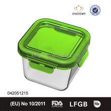 green square heat resistant glass container for food lunch box
