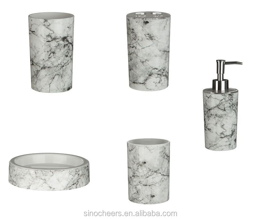 Rome Tumbler Marble Effect ABS Plastic Bathroom Accessories Modern Design
